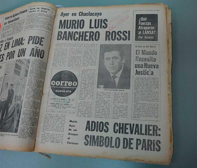 Anuncio de la muerte de Luis Banchero Rossi