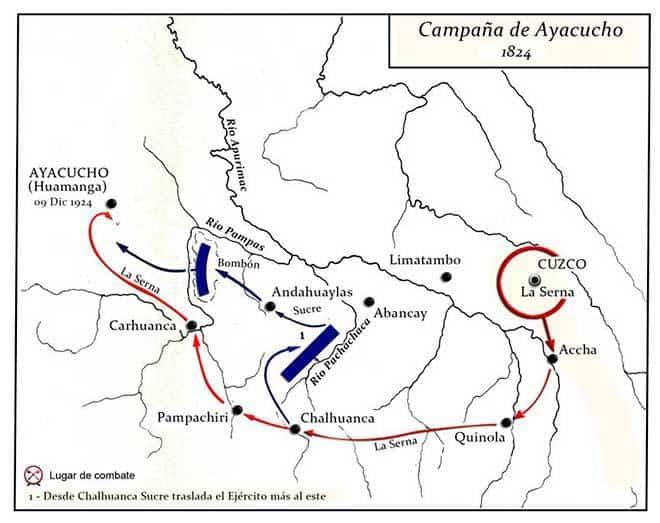 Mapa de la Batalla de Ayacucho