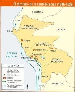 Mapa de las batallas Confederación Perú-Bolivia
