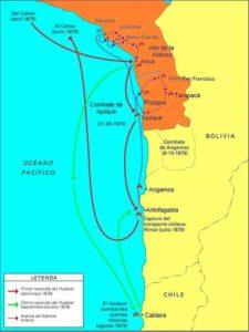 Mapa del Combate de Angamos