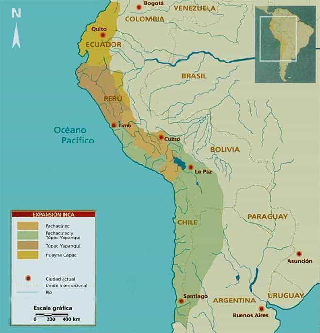 mapa conquista inca