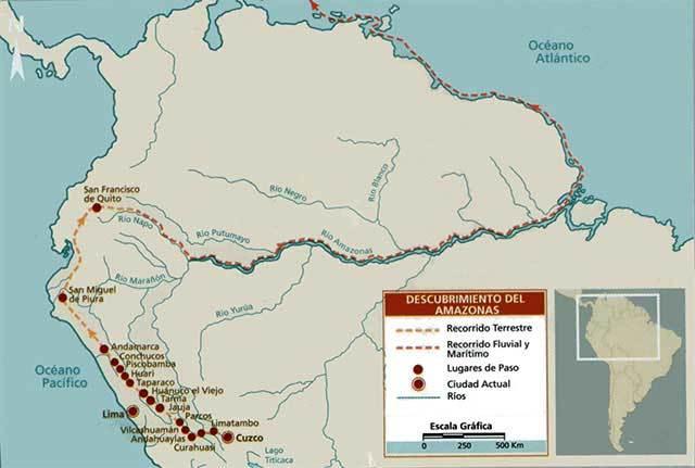 Mapa del descubrimiento del Río Amazonas