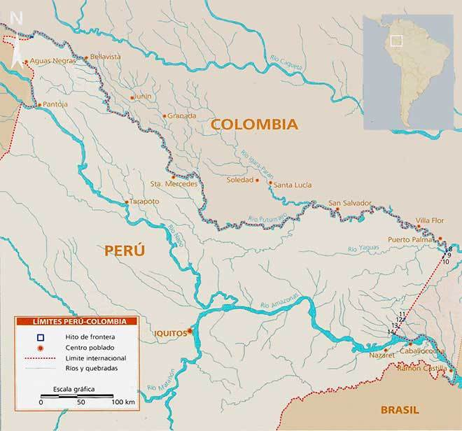 mapa frontera peru colombia