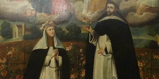 pintura santa rosa de lima y santo domingo