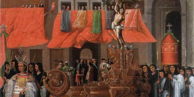 procesion cuzco iglesia colonia